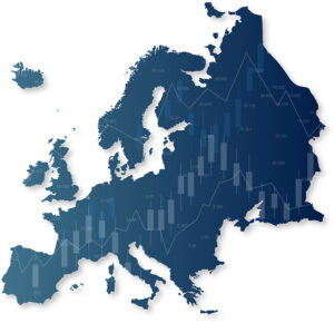Map of Europe with a line chart overlayed
