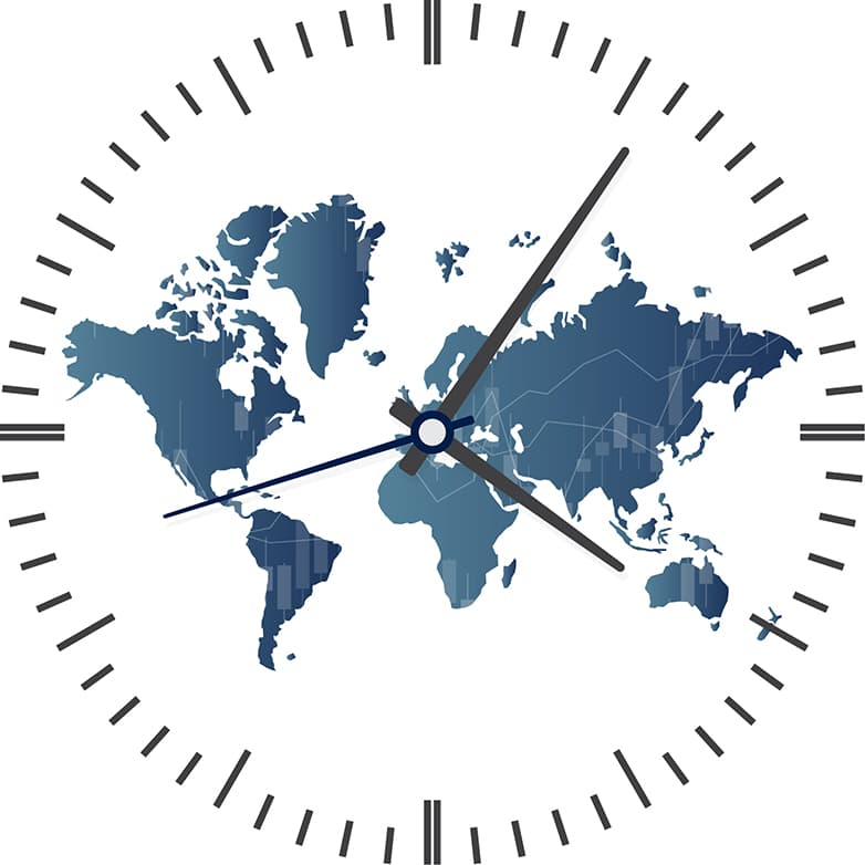 Clock with map of the World with line chart in background